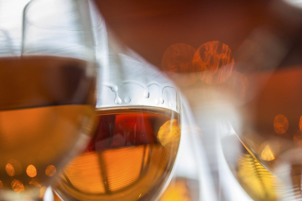 Glasses of amontillado sherry set up for a wine tasting in New York, Feb. 5, 2014. Decades after drinkers abandoned cheap, artificially sweetened sherries, many Spanish sherry makers have refocused on making smaller volumes of top-quality aged sherry, with exceptional results. (Tony Cenicola/The New York Times)